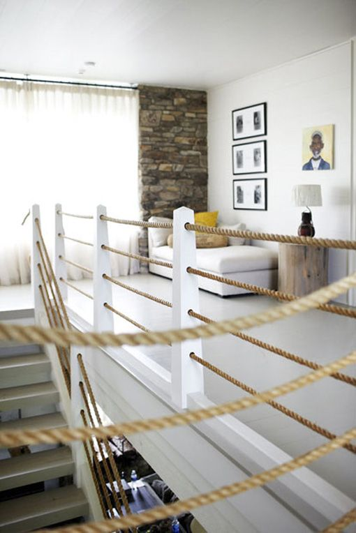several ropes for handrails to give a nautical feel to the home