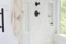 28 small marble hex tiles all over the shower
