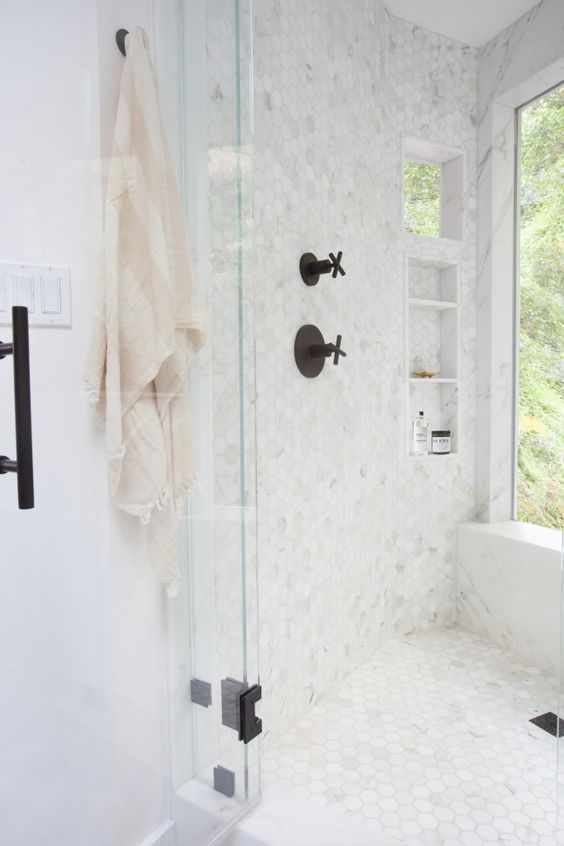 Small Marble Hex Tiles All Over The Shower
