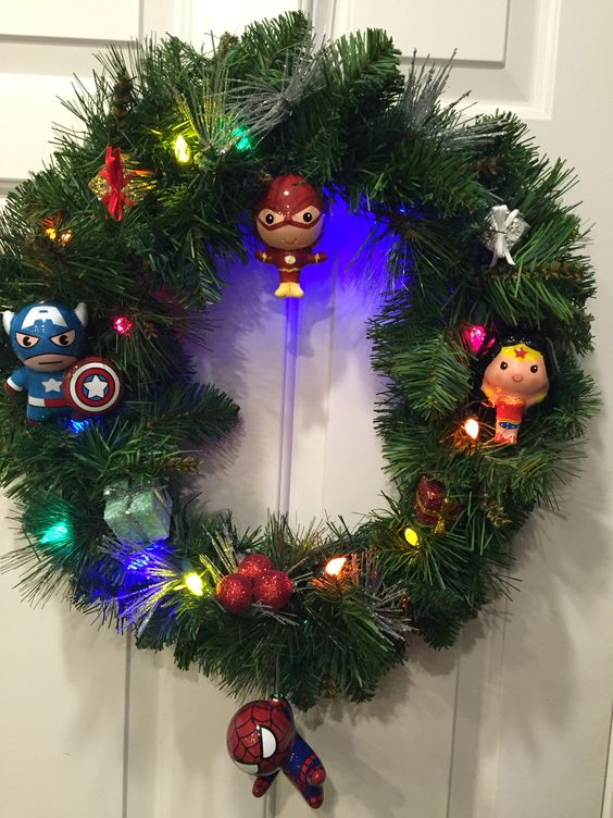 Superhero wreath with target ornaments