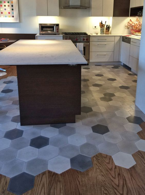 36 eye catchy hexagon tile ideas for kitchens digsdigs for Hardwood floor tile kitchen