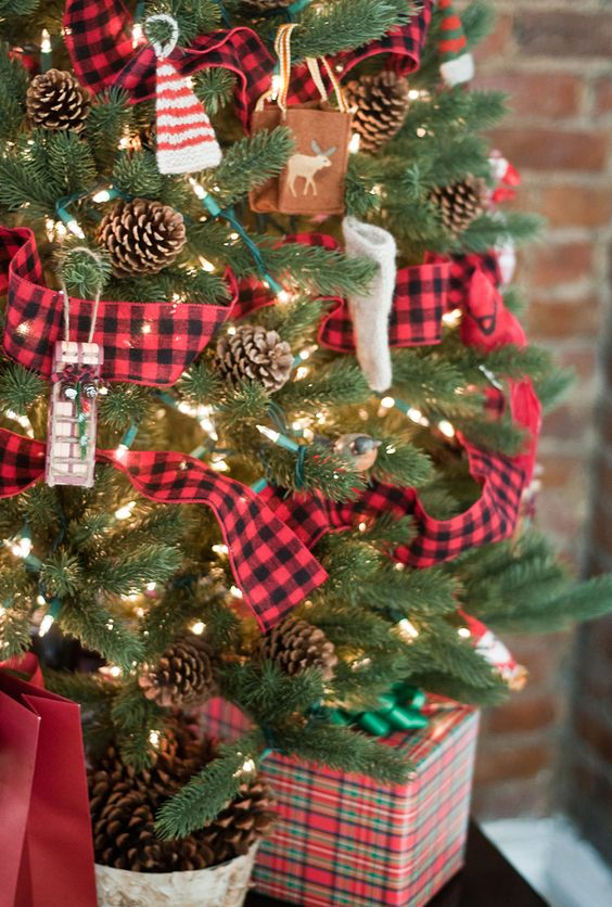 tartan pinecones and knit ornaments will give your tree a cozy rustic flavor