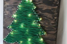 29 yarn Christmas tree artwork with string light incorporated