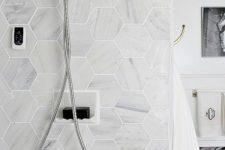 30 Carrara marble hexagon tile for the shower