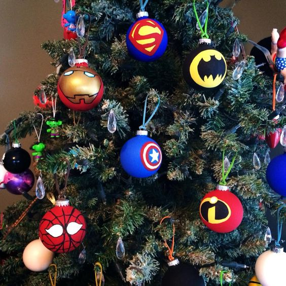 hand painted glass Superhero christmas ornaments