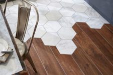 30 hardwood floors combines with hex tiles are an eye-catching design feature