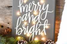30 lit up Christmas fabric-covered sign