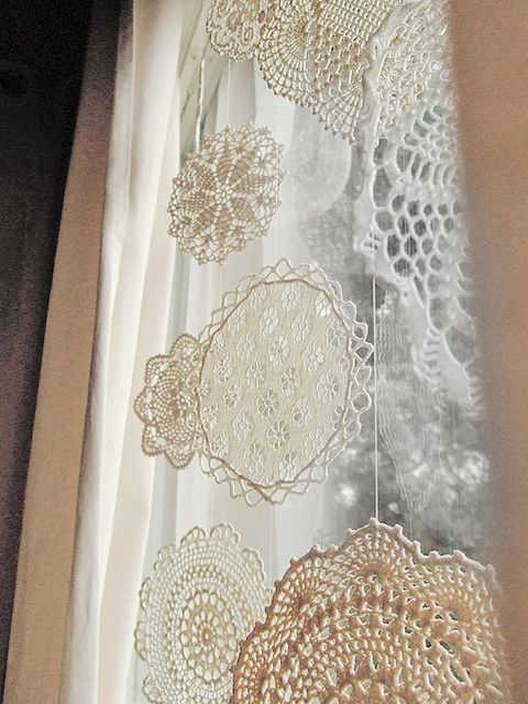 create snowflakes of doilies and hang them on the window