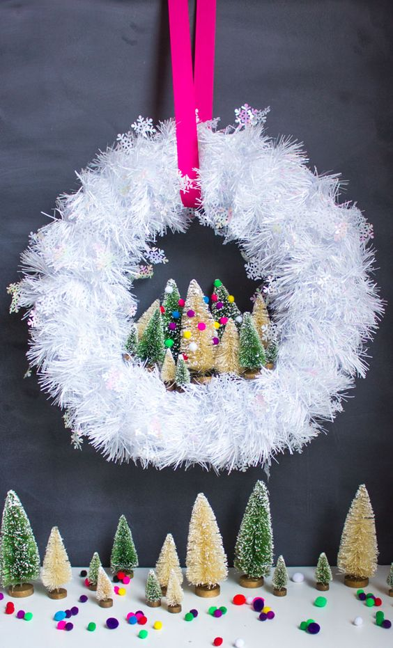 fluffy white Christmas wreath with bottle brush tiny trees and pompoms