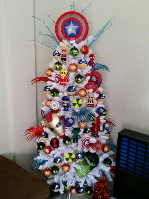 funny Avengers themed Christmas tree