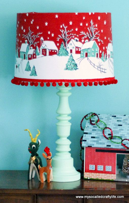 retro Christmas tablecloth turned into a lampshade