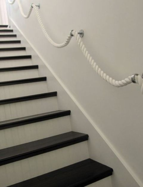 white boat rope handrail for a seaside home