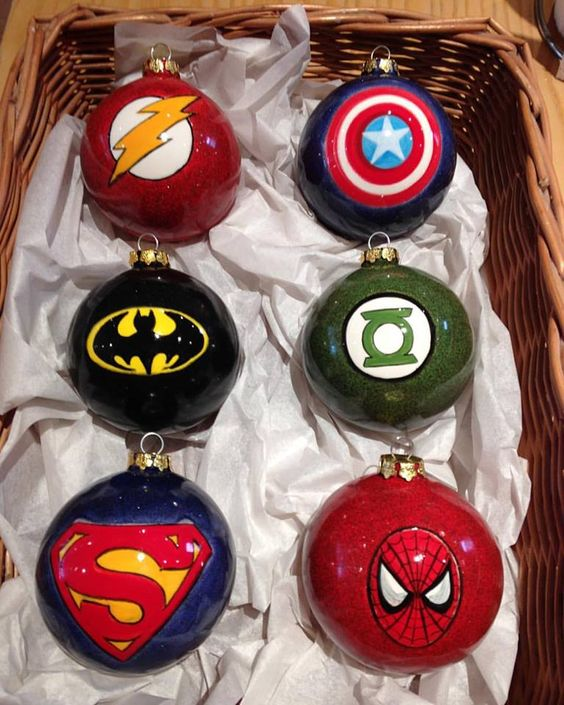 glossy hand painted Superhero ornaments