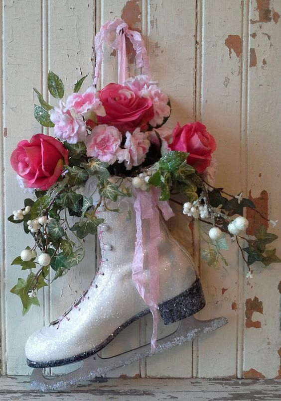 hang a skate and fill it with faux flowers and greenery
