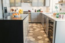 33 mosaic grey honeycomb floor makes a statement in this neutral grey kitchen