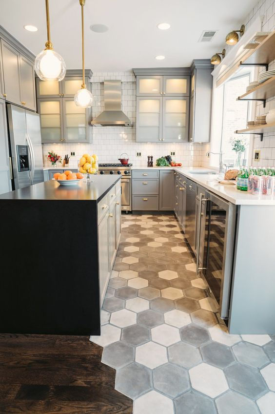 mosaic grey honeycomb floor makes a statement in this neutral grey kitchen
