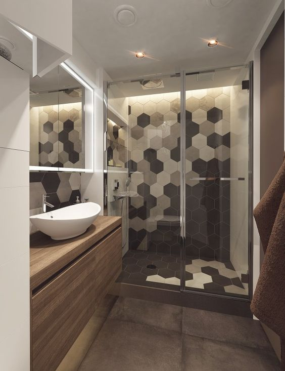 Shower Area With Black, Grey And White Hex Tile Mosaic