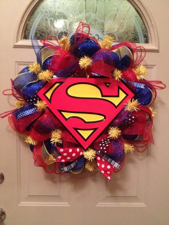 colorful Superman-themed wreath