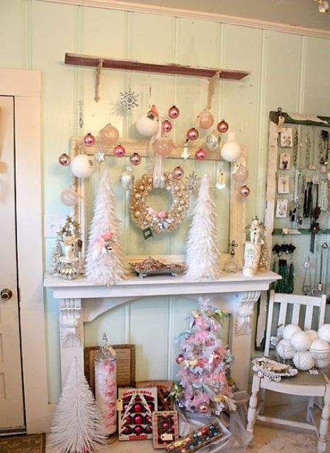 shabby chic Christmas faux mantel with pastel ornaments and trees