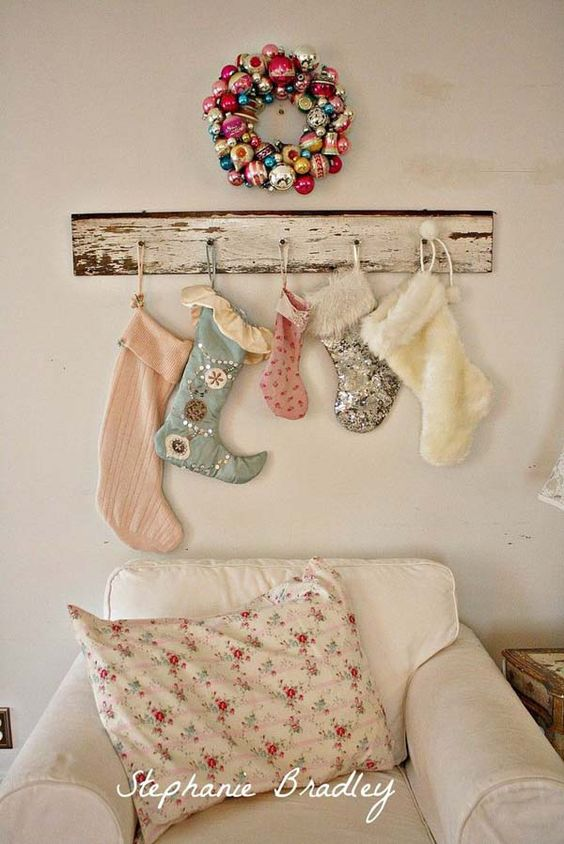vintage Christmas stockings display