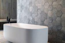 35 2D hexagonal tiles in the bathtub area