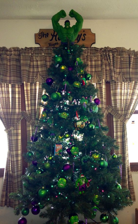 bold Hulk Christmas tree in purple and green