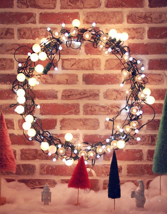 bubbly light Christmas wreath on a metal frame