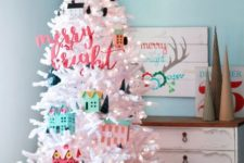 35 crispy lighted tree deocrated with cardboard houses