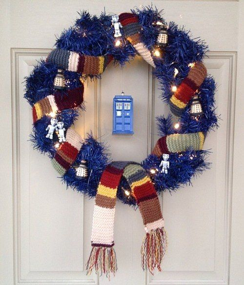 blue wreath with lights, a scarf and Tardis