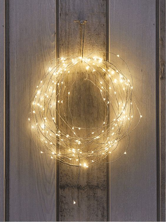 naked wire string lights wreath