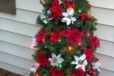 36 small tomato cage Christmas tree with red and white poinsettia flowers