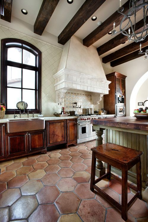 36 eye catchy hexagon tile ideas for kitchens digsdigs for Rustic mediterranean interior design