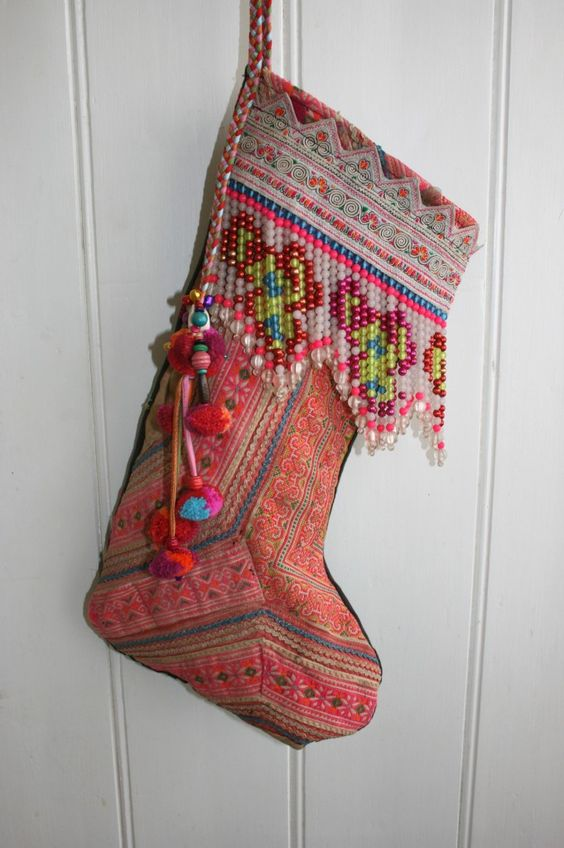 vintage boho style stocking with multiple beads