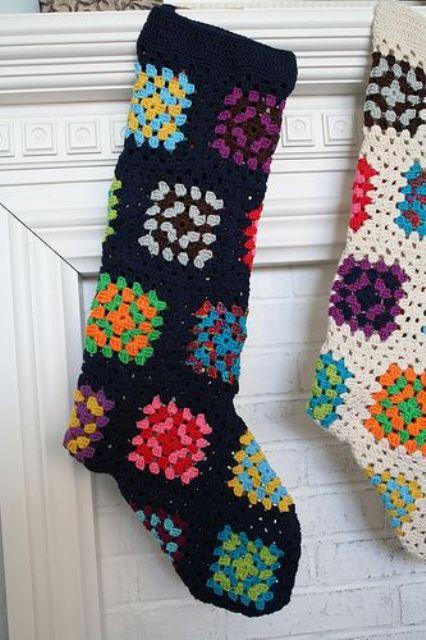 Granny square stockings in bold colors