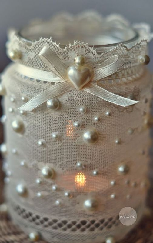 shabby chic luminaires using lace, ribbon, beads and glue