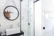 38 honeycomb backsplash makes for a playfully modern space