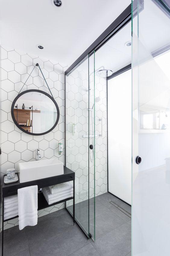 honeycomb backsplash makes for a playfully modern space