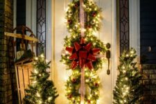 38 lit up evergreen wreaths trio with ornaments and ribbon