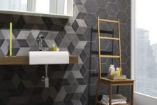 39 modern bathroom decor with grey and black hex tiles