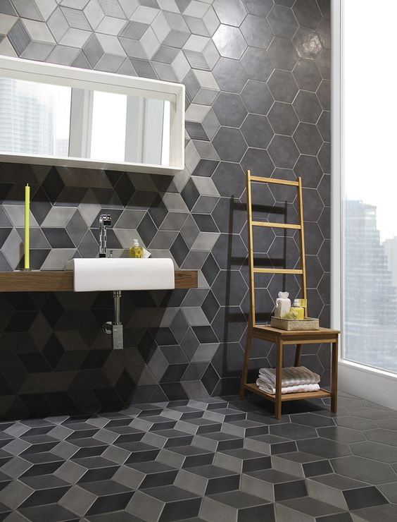 modern bathroom decor with grey and black hex tiles