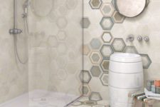 40 beige hex tiles in the shower, colorful hex tiles for walls and floors