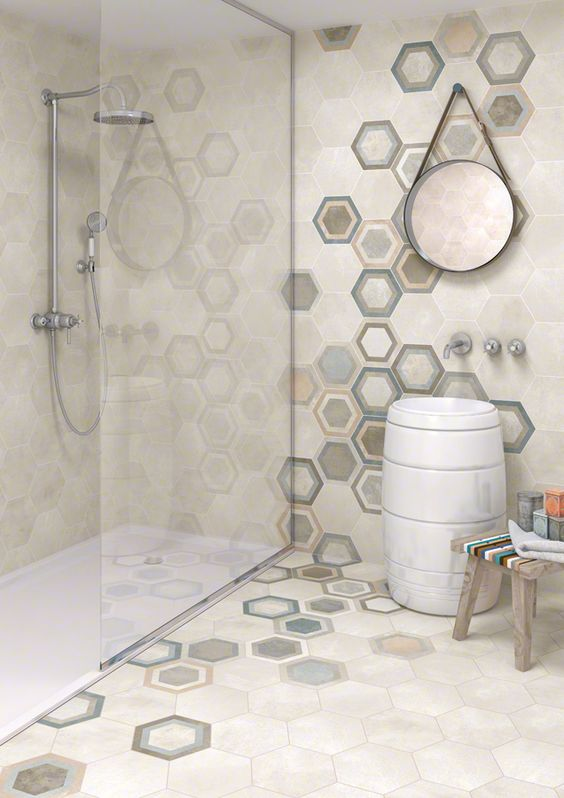 Beige Hex Tiles In The Shower Colorful For Walls And Floors