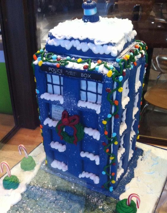 Christmas themed Tardis gingerbread house
