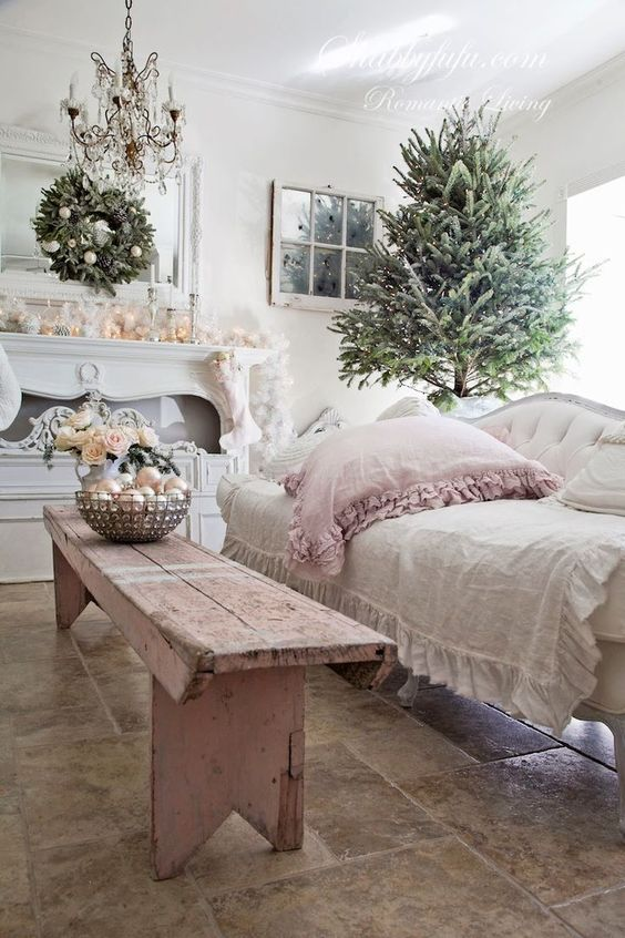 sweet pastel pink and ivory living room decor with ornaments, flowers, ruffkes and lights