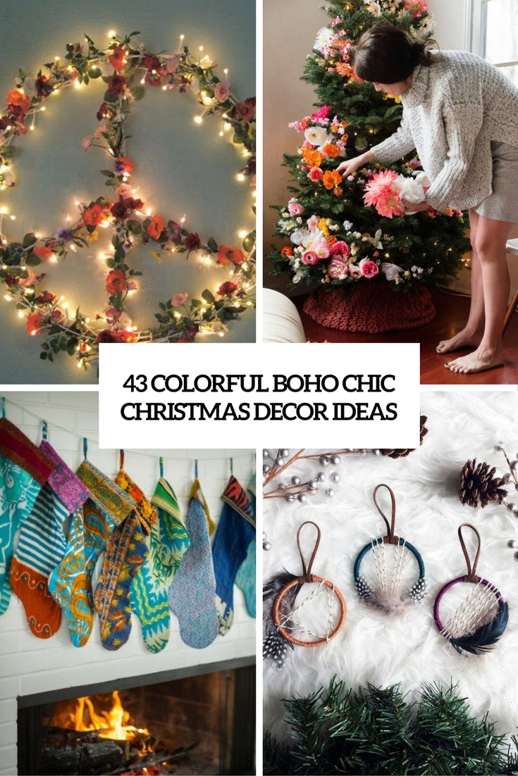 colorful boho chic christmas decor ideas cover