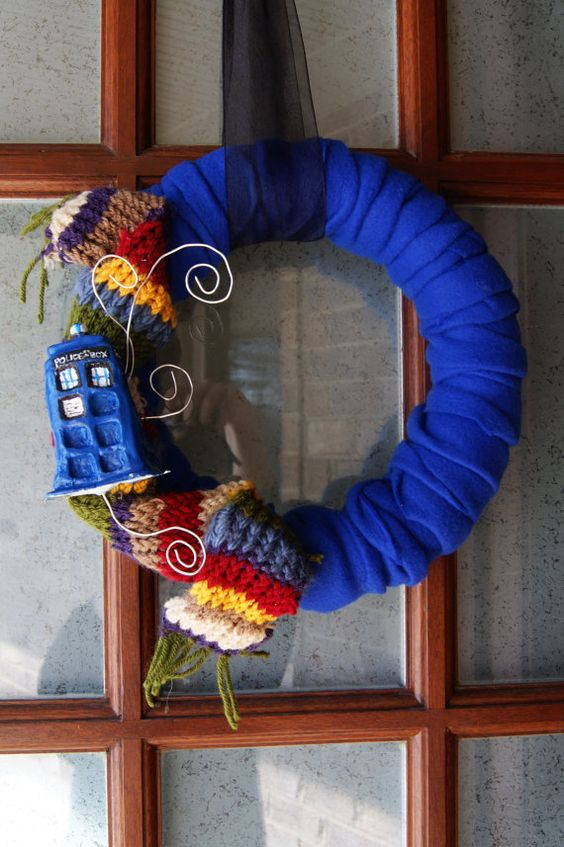 felt wrapped Doctor Who Tardis wreath