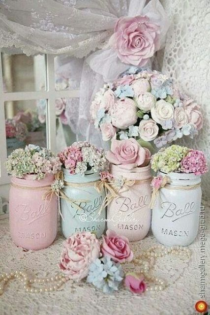 usual mason jars can be turned into pastel vases for flowers