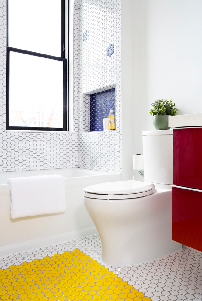pops of color are easy to achieve in a white hex tiled bathroom (Davida's Kitchen & Tiles)