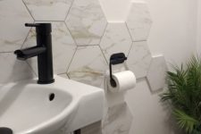 hex tiles could be used to create interesting backslashes around washbasins and bathtubs