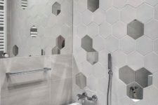 there are even mirrored hex tiles that could become a special touch to a bathroom wall